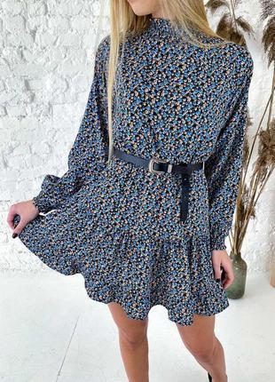 Оригинальное синее платье мини с воротником стойкой и длинными...