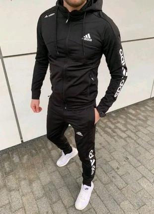 Спортивный костюм Адидас черный. Спортивный костюм Adidas