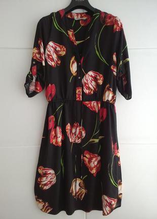 Вискозное платье рубашка  в цветочный принт george, р.14.