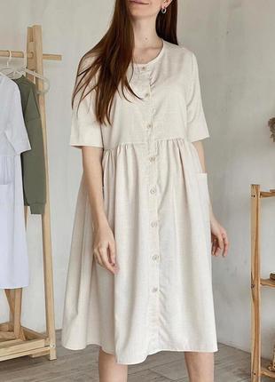 Льняное платье миди. натуральное платье сарафан лён на пуговках.