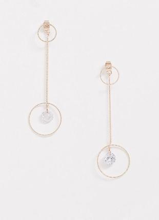 💎 красивые длинные серьги с цепочками и ярким камнем цирконием...