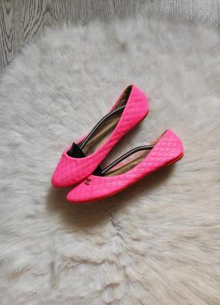 Розовые цветные кожаные балетки туфли на низком ходу стеганые ...