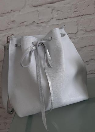Кожаная женская сумочка сумка мешок