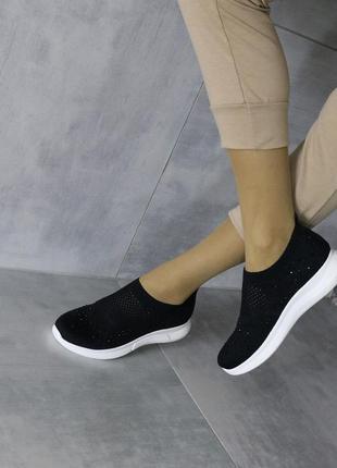 Чёрные текстильные кроссовки,летние чёрные кроссовки из тексти...