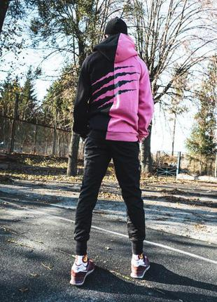 Теплое худи унисекс пушка огонь scratch черно-розовое