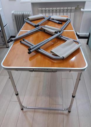 Стол складной и 4 стула для кемпинга Folding table без зонта