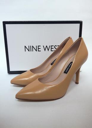 Туфли-лодочки женские кожаные nine west, бежевые. оригинал