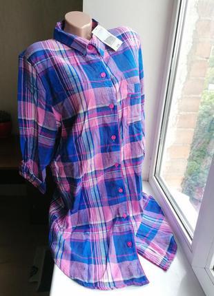 Платье-рубашка новое с биркой в клетку фланелевое байковое 16-...
