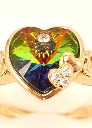 """Кольцо позолота 18к с  кристаллами swarovski """"капризное сердце..."""