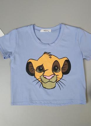 Кроп топ футболка с принтом симба