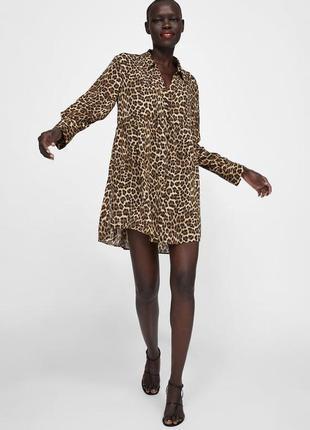 Вискозная леопардовая туника/ платье рубашка