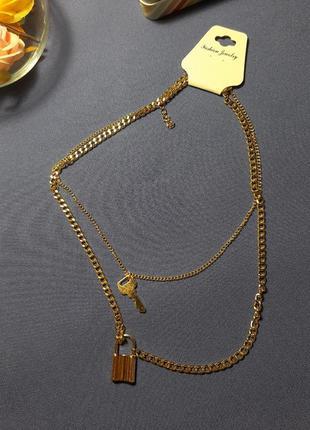 Колье, цепь, цепочка с замочком и ключом, цвет золото