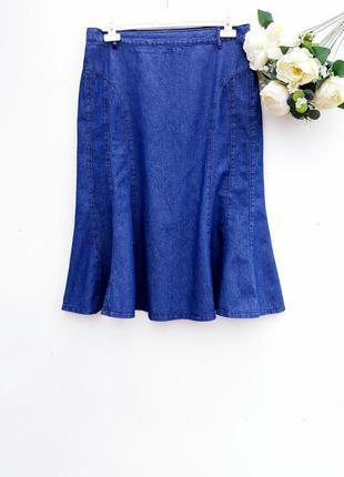 Стильная джинсовая юбка миди красивая юбка