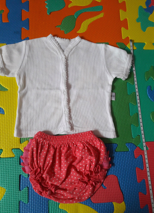 Летняя кофточка и трусики под подгузник для новорожденных