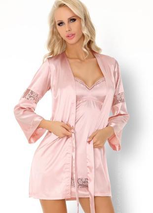 Атласный халат и ночная сорочка с кружевом deliam