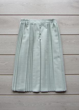 Шикарная актуальная удлиненная мятная юбка миди в клетку плисс...