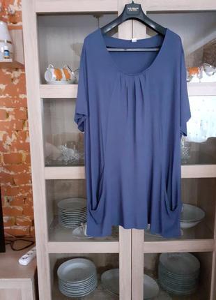 Очень стильное вискозное с карманами платье туника очень больш...