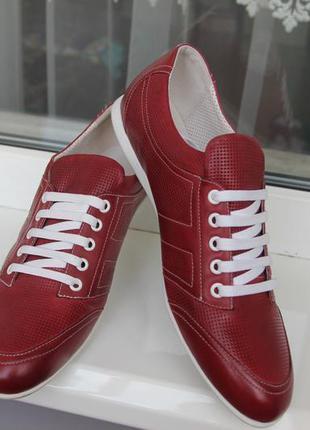 Кроссовки мужские кожаные красные. размеры:39,40,41,43,44,45