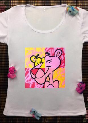 Женские футболки с принтом - розовая пантера