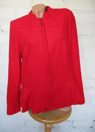 Пальто-жакет/пиджак/куртка красный шерстяной/35% шерсть/l-xl