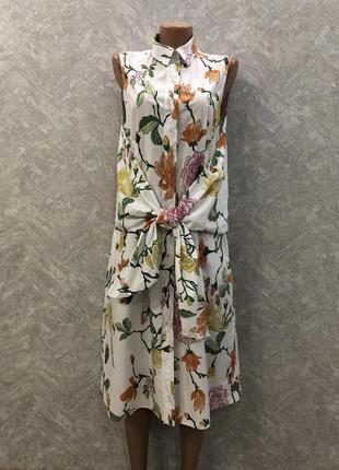 Платье рубашка миди  в цветы