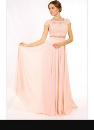 Платье вечернее в виде топа и юбки, соединенных сеткой