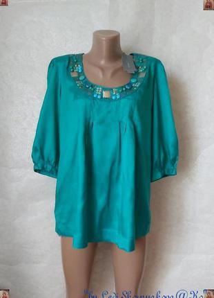 Обалденная блуза со 100 % вискозы с украшением цвета бирюза/мя...