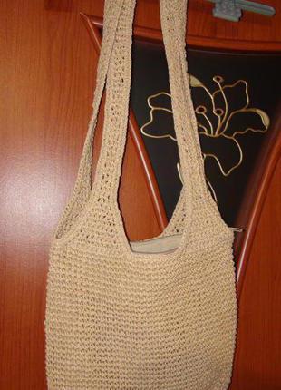 Плетеная сумка через плечё, летняя