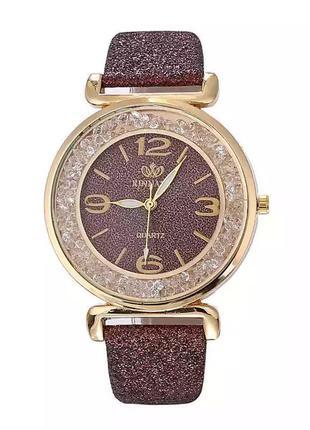 Часы наручные женские блестящие коричневые