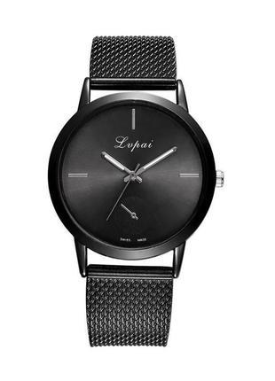 Часы наручные чёрные на силиконовом ремешке