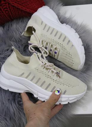 Бежевые текстильные кроссовки на платформе,бежевые кроссовки и...