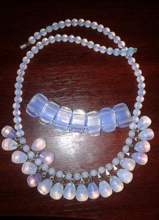 Комплект с лунным камнем (ожерелье и браслет)