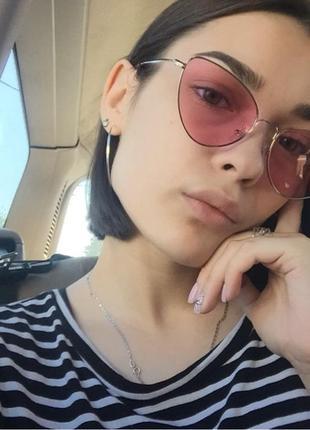 Солнцезащитные очки лисички с розовыми линзами