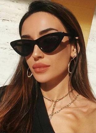 Ретро солнцезащитные очки лисички с тёмными линзами