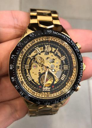 Оригинальные стильные мужские наручные часы  Winner 8067 Gold-Bla