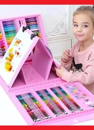 Детский набор для рисования 208 предметов Мольберт краски флом...