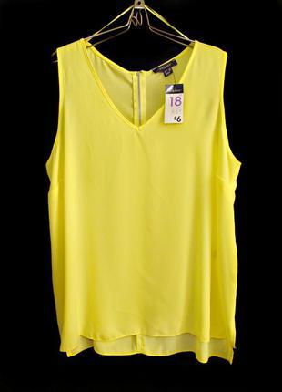 Удлиненная ярко-желтая блуза маечка из шифона р.18