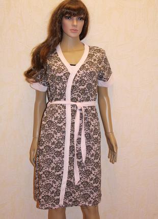 Комплект ночная рубашка + халат для кормление АИСТ (розовый)