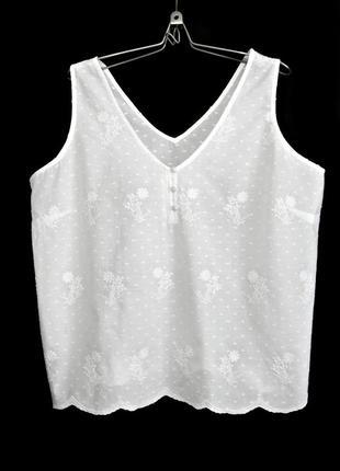 Нежная блуза с вышивкой из тончайшего индийского хлопка р.16-18