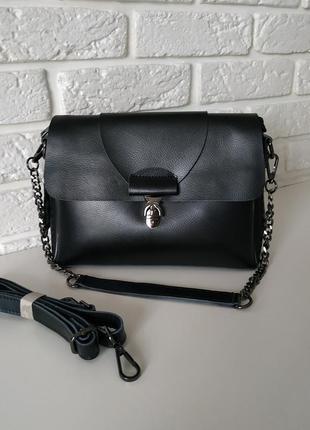 Вместительная кожаная сумка черная (2 ручки)
