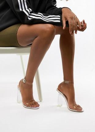 ✅прозрачные босоножки на толстом каблуке устойчевые