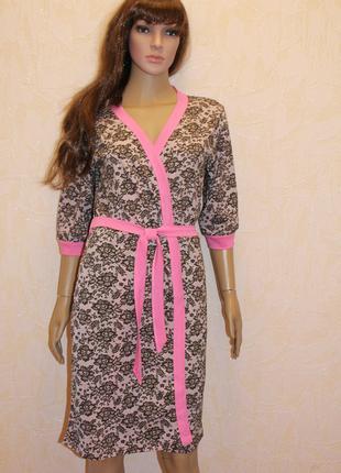 Комплект ночная рубашка + халат лямур (розовый)