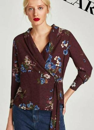Бордовая блуза  в цветочный принт