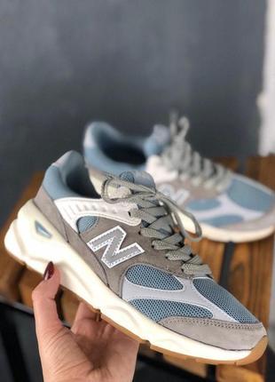Женские кроссовки new balance x-90 grey blue white.