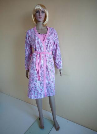 Комплект ночная рубашка +халат начес
