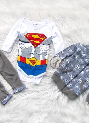 Комплект набор боди кофта с капюшоном и брюки штаны superman