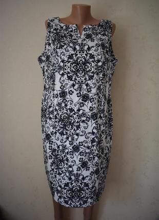 Натуральное красивое платье с принтом большого размера bhs