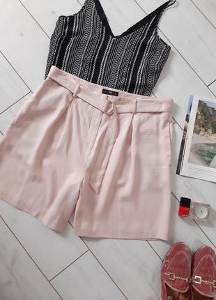 Мега стильные высокие шорты в нежнейшем розовом