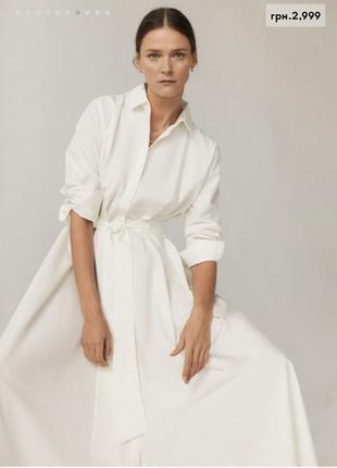Белое платье рубашка от mango новая коллекция
