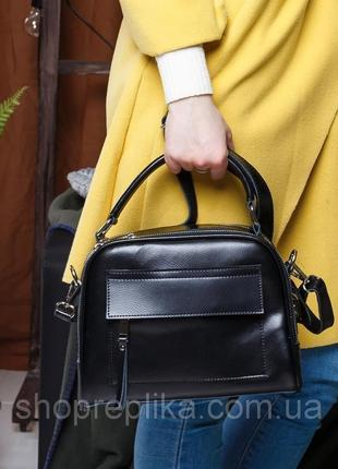 кожаная женская сумка в черном цвете